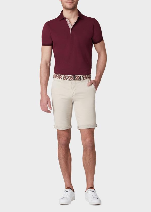 Polo manches courtes Slim en coton uni rouge foncé - Father and Sons 33983