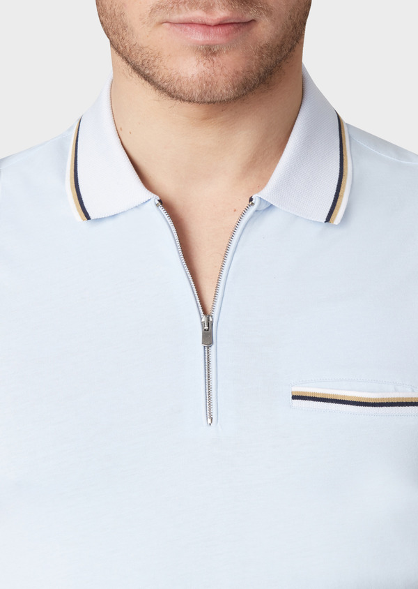 Polo manches courtes Slim en coton uni bleu ciel - Father and Sons 33950