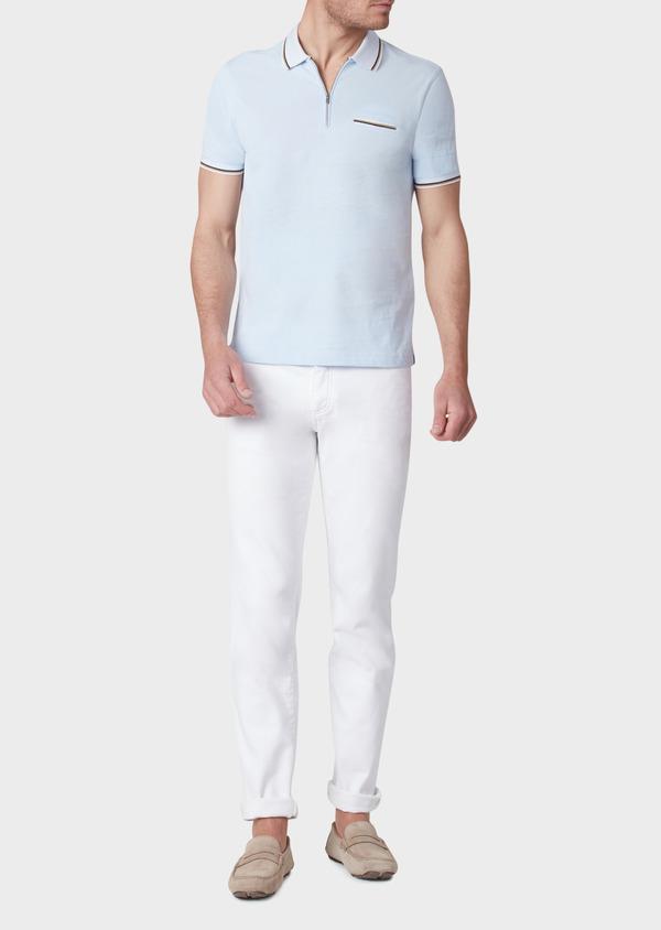 Polo manches courtes Slim en coton uni bleu ciel - Father and Sons 33948