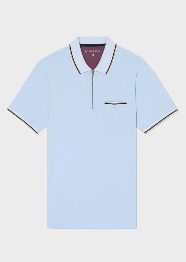 Polo manches courtes Slim en coton uni bleu ciel - Father and Sons 33946