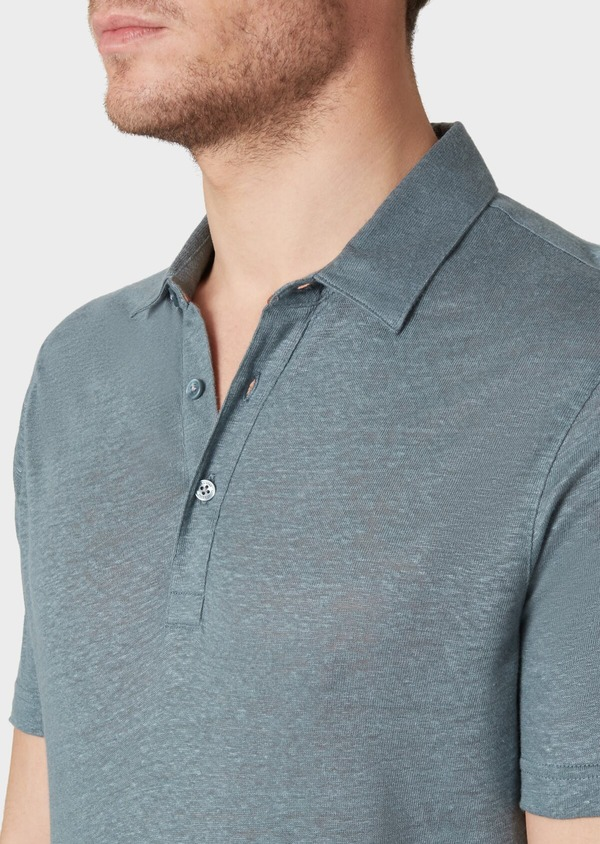 Polo manches courtes Slim en lin uni vert - Father and Sons 34029