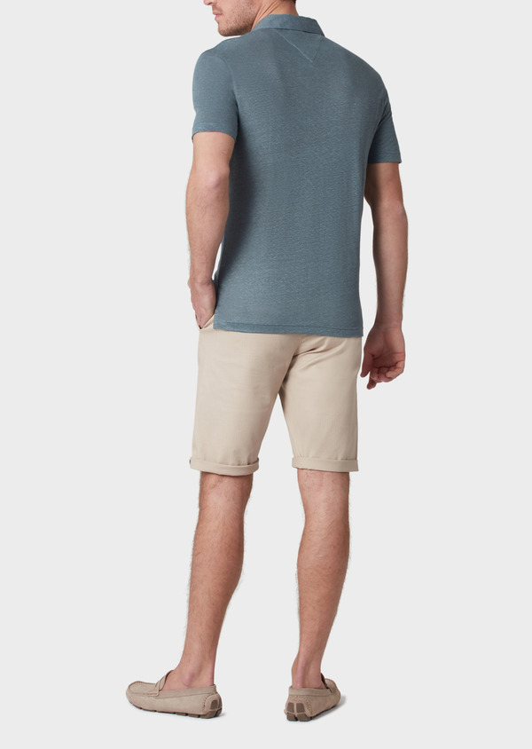 Polo manches courtes Slim en lin uni vert - Father and Sons 34028