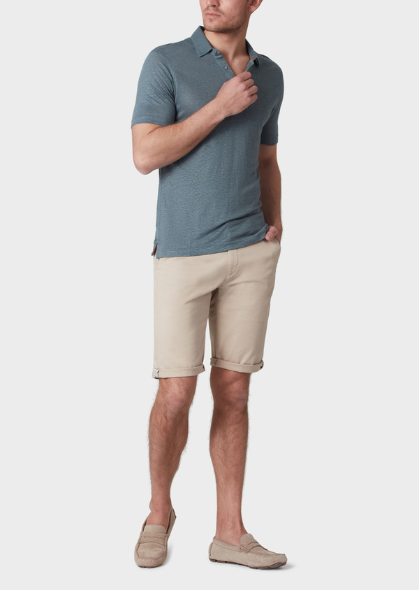 Polo manches courtes Slim en lin uni vert - Father and Sons 34027