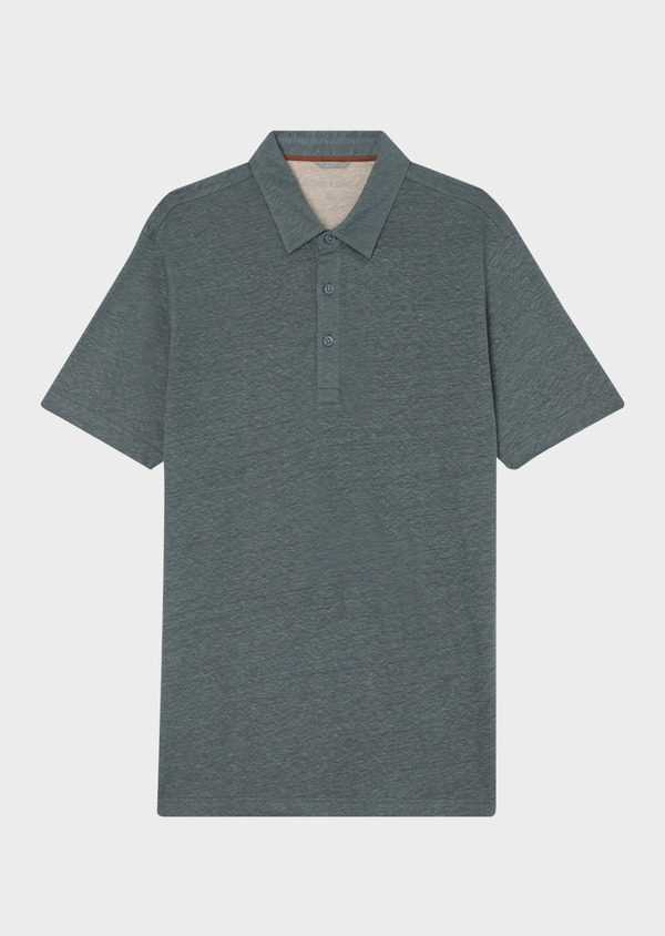Polo manches courtes Slim en lin uni vert - Father and Sons 34025