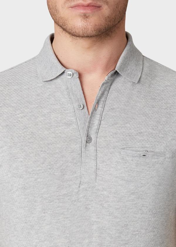 Polo manches courtes Slim en coton uni gris - Father and Sons 33935