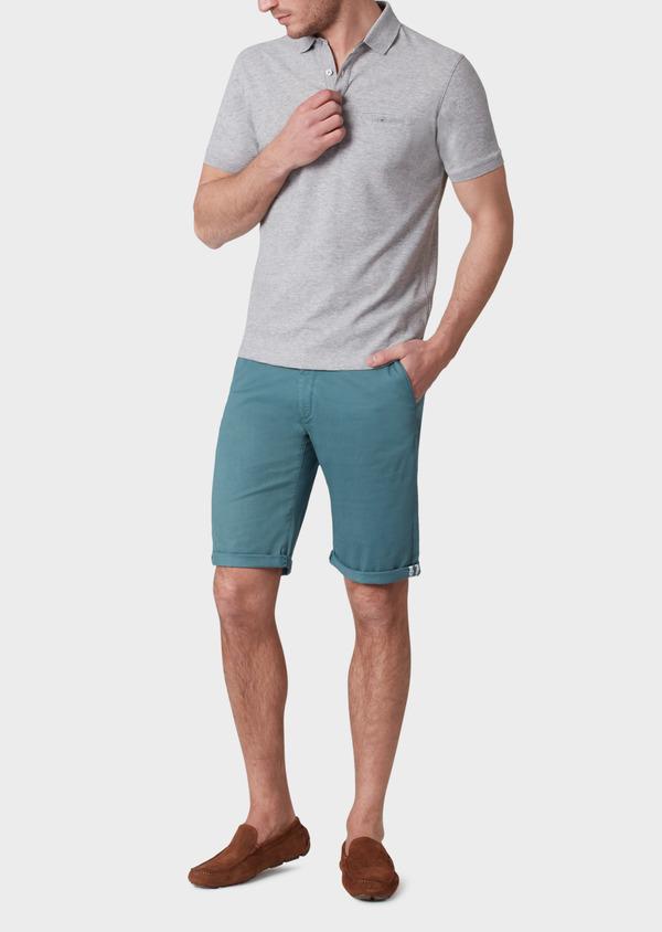 Polo manches courtes Slim en coton uni gris - Father and Sons 33933