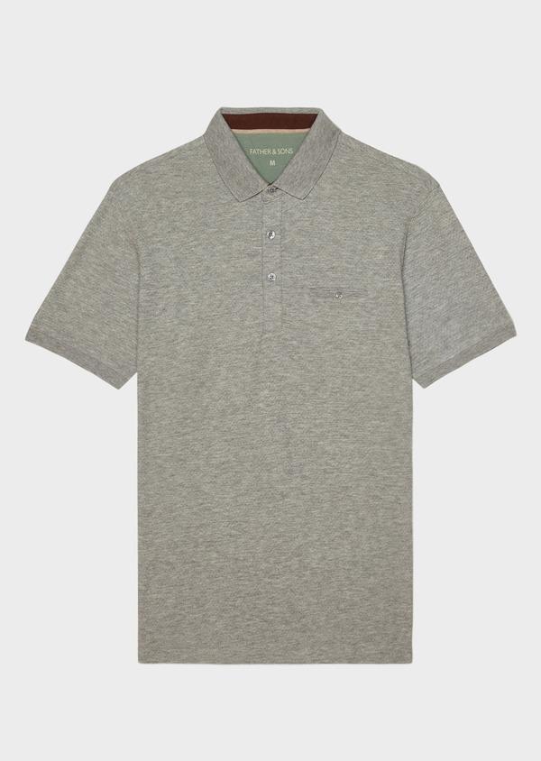Polo manches courtes Slim en coton uni gris - Father and Sons 33931