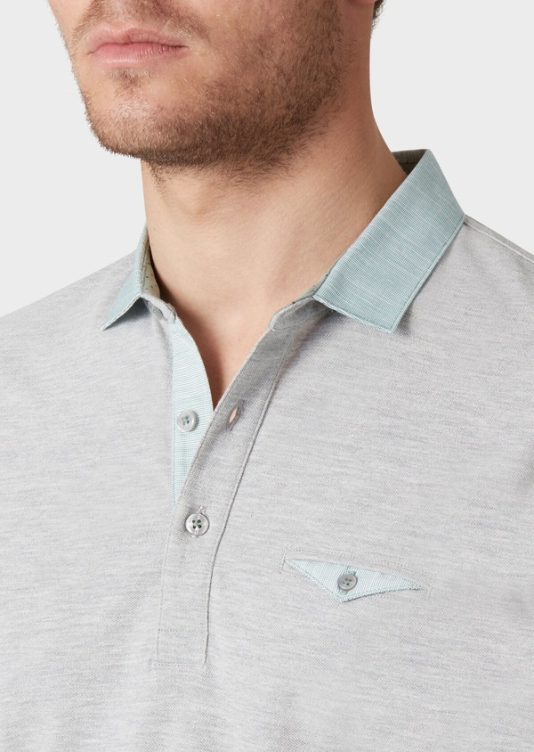 Polo manches courtes Slim en coton uni gris perle - Father and Sons 33980