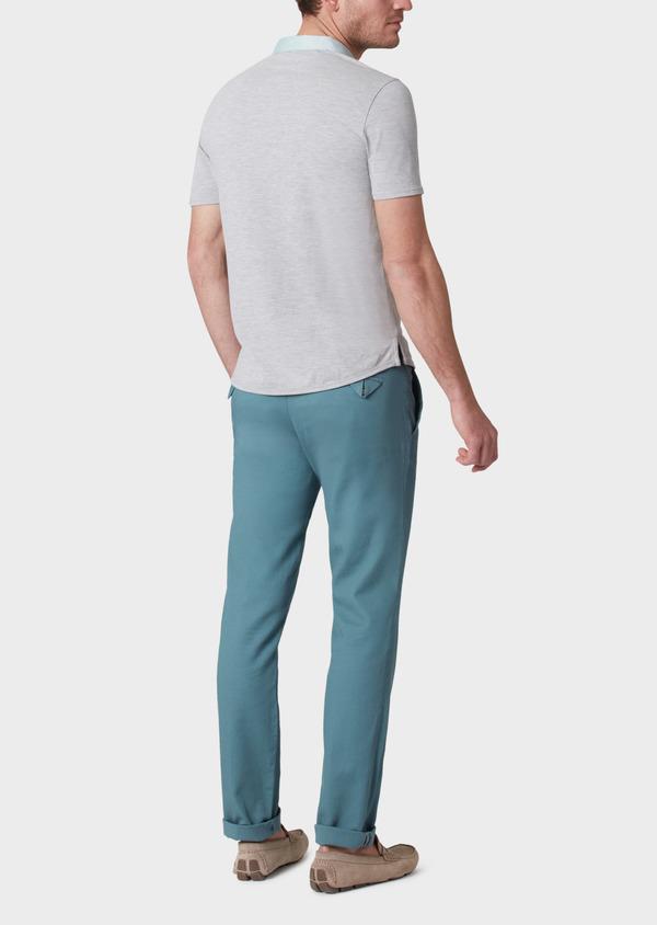 Polo manches courtes Slim en coton uni gris perle - Father and Sons 33979