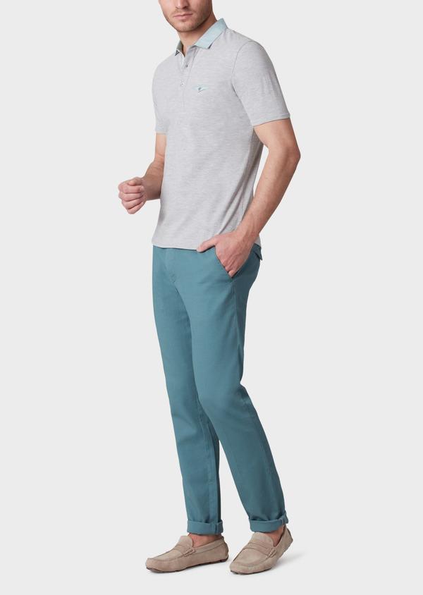 Polo manches courtes Slim en coton uni gris perle - Father and Sons 33978