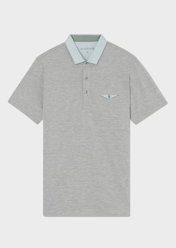 Polo manches courtes Slim en coton uni gris perle - Father and Sons 33976
