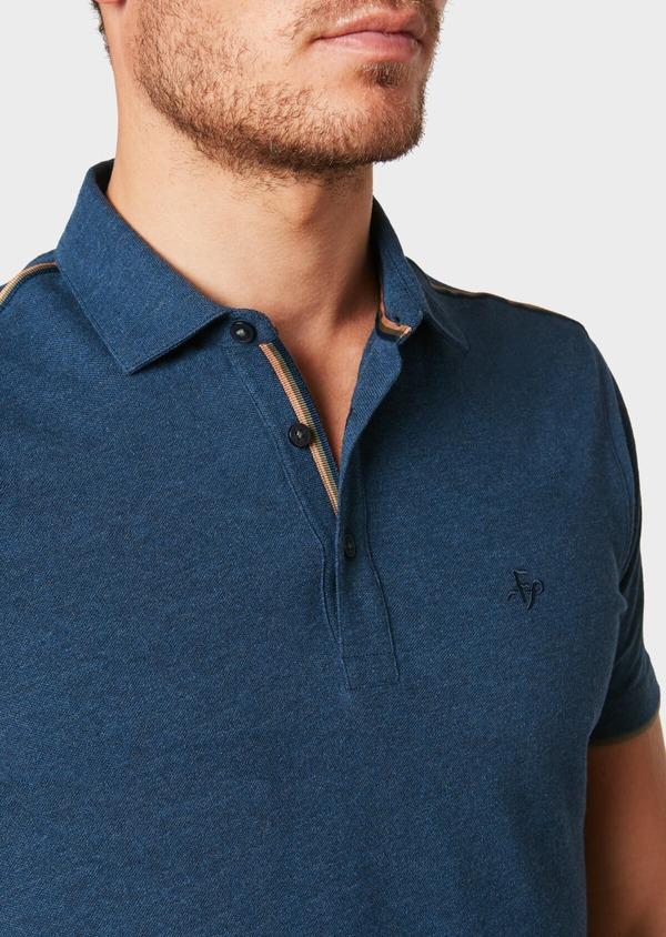 Polo manches courtes Slim en coton uni bleu jeans - Father and Sons 33428