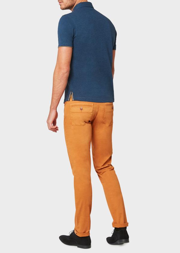 Polo manches courtes Slim en coton uni bleu jeans - Father and Sons 33427