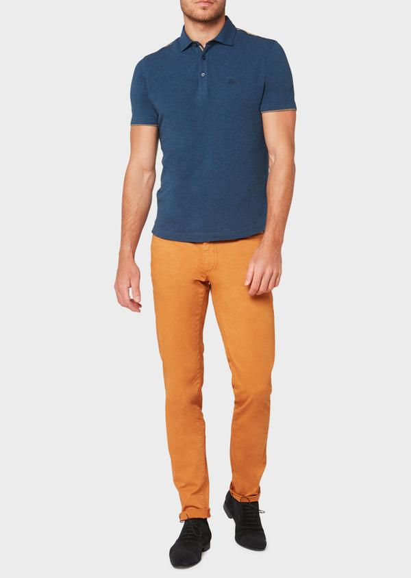 Polo manches courtes Slim en coton uni bleu jeans - Father and Sons 33426