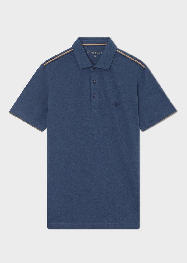 Polo manches courtes Slim en coton uni bleu jeans - Father and Sons 33424