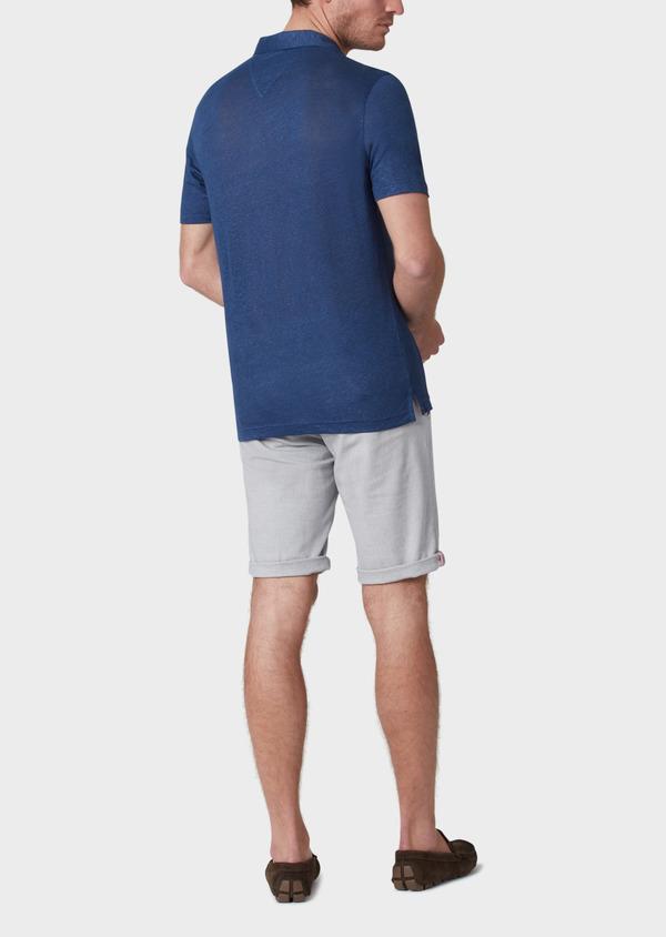 Polo manches courtes Slim en lin uni bleu jeans - Father and Sons 34167