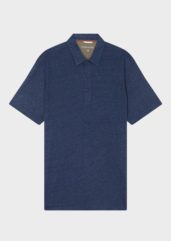 Polo manches courtes Slim en lin uni bleu jeans - Father and Sons 34164