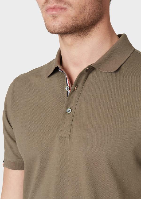 Polo manches courtes Slim en coton uni vert kaki - Father and Sons 34224