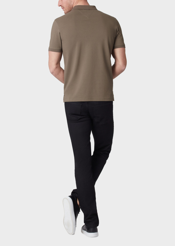 Polo manches courtes Slim en coton uni vert kaki - Father and Sons 34223