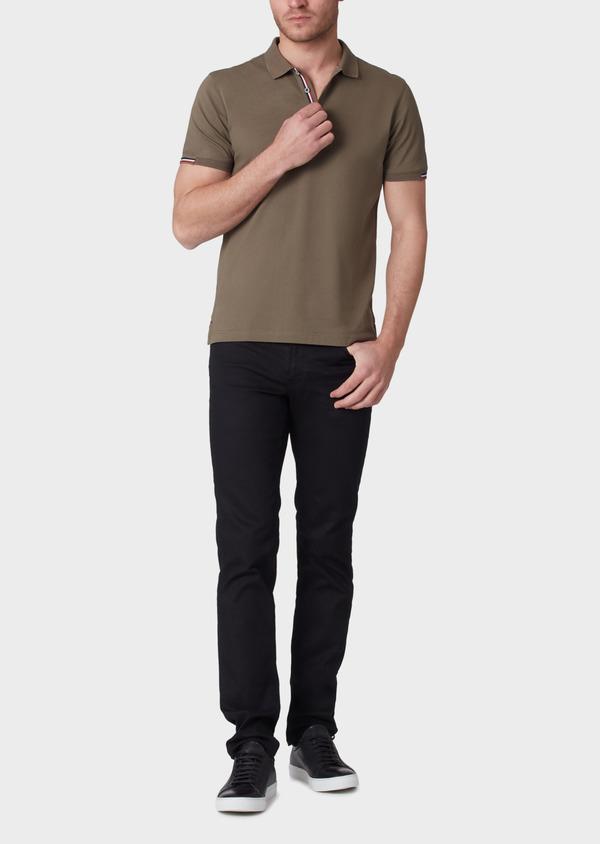 Polo manches courtes Slim en coton uni vert kaki - Father and Sons 34222
