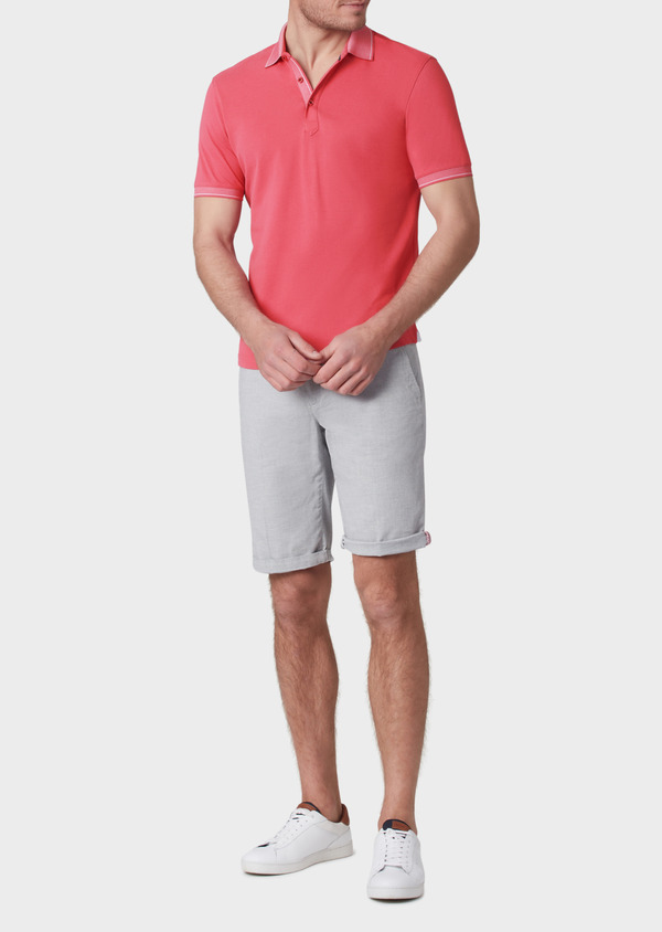 Polo manches courtes Slim en coton uni rose - Father and Sons 34161