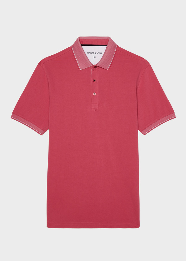 Polo manches courtes Slim en coton uni rose - Father and Sons 34159