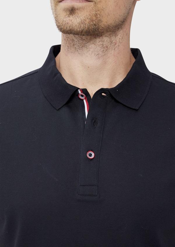 Polo manches courtes Slim en coton uni bleu marine - Father and Sons 34500