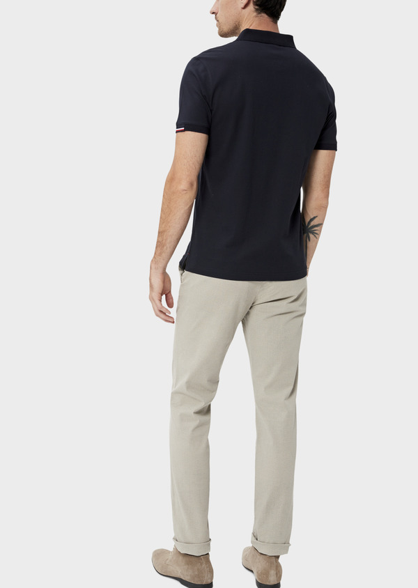 Polo manches courtes Slim en coton uni bleu marine - Father and Sons 34499