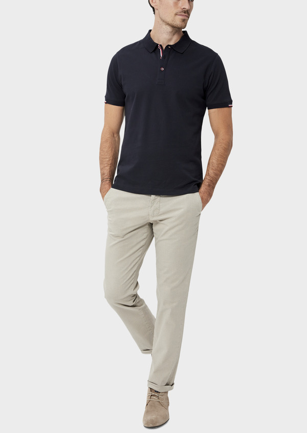 Polo manches courtes Slim en coton uni bleu marine - Father and Sons 34498