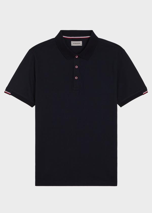 Polo manches courtes Slim en coton uni bleu marine - Father and Sons 34496