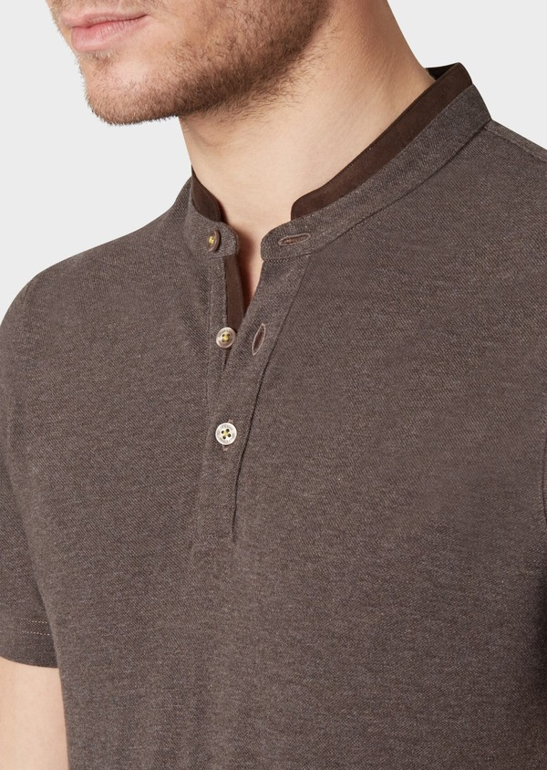 Polo manches courtes Slim en coton uni marron - Father and Sons 34004