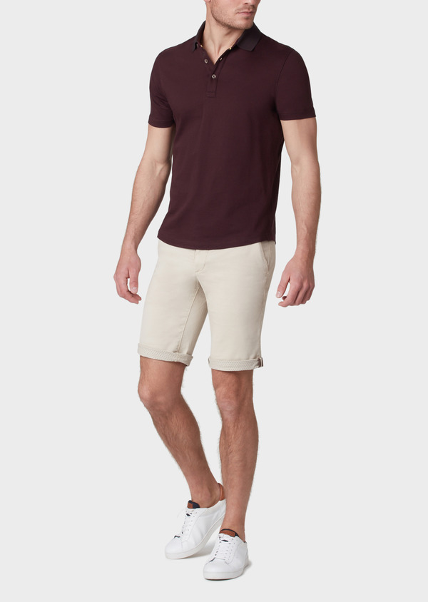 Polo manches courtes Slim en coton uni marron clair - Father and Sons 34007