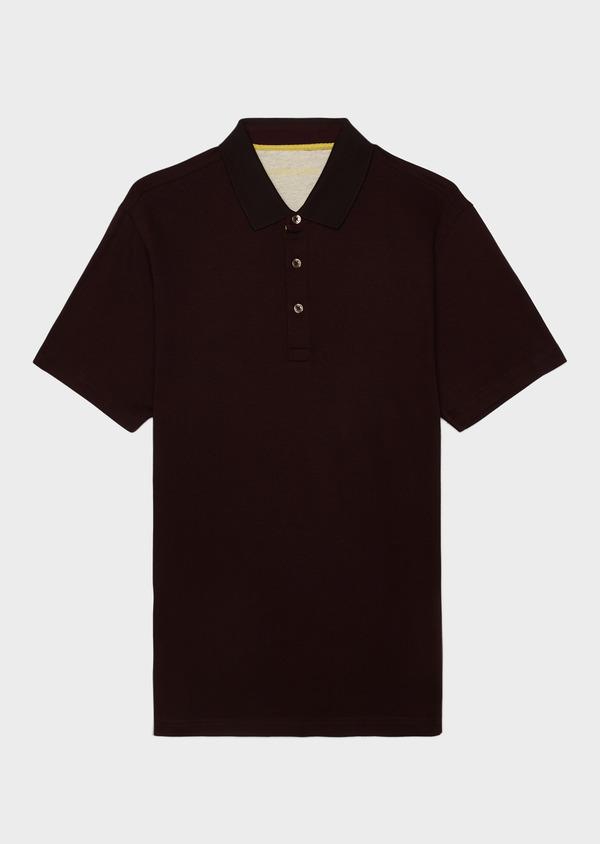 Polo manches courtes Slim en coton uni marron clair - Father and Sons 34005