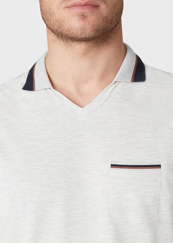 Polo manches courtes Slim en coton uni gris - Father and Sons 33955