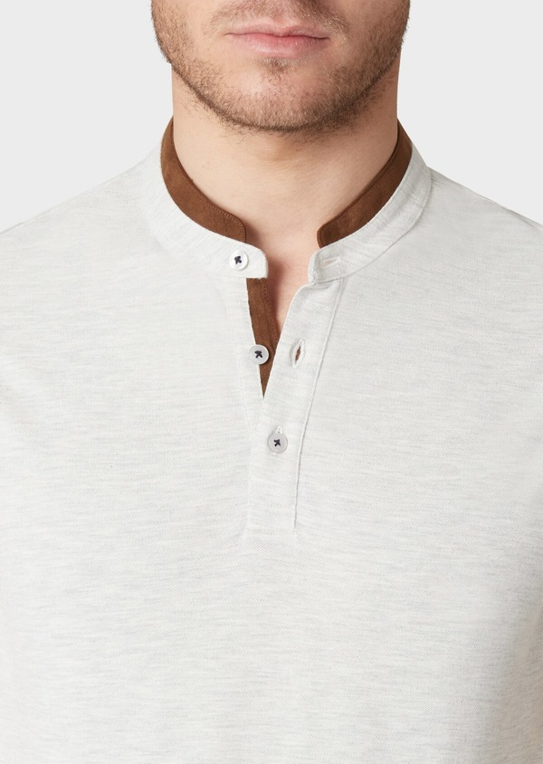 Polo manches courtes Slim en coton gris - Father and Sons 33999