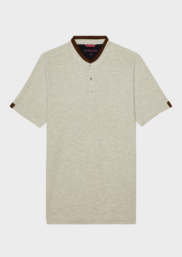 Polo manches courtes Slim en coton gris - Father and Sons 33995