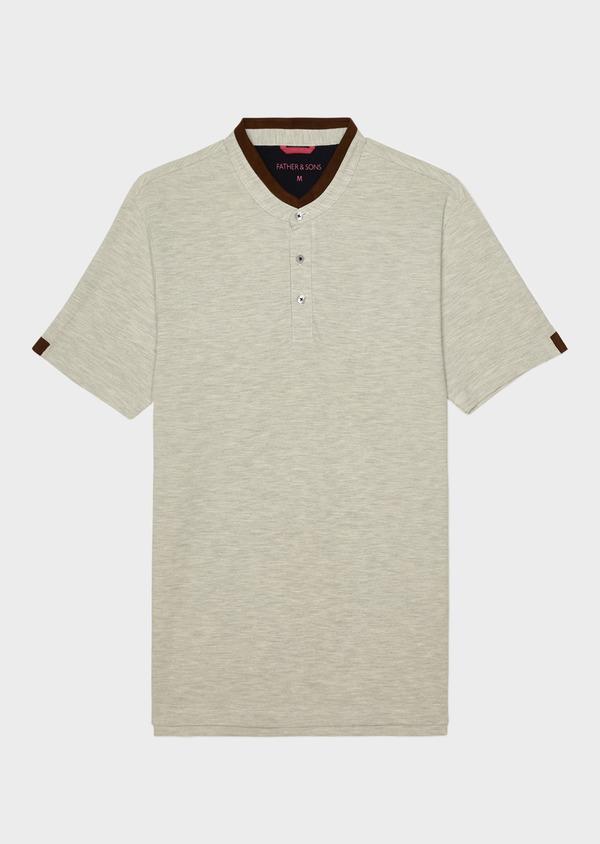 Polo manches courtes Slim en coton gris - Father and Sons 33995