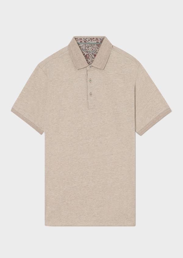 Polo manches courtes Slim en coton uni beige - Father and Sons 33410