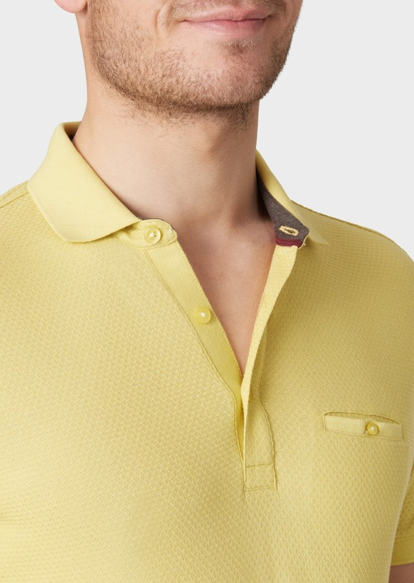 Polo manches courtes Slim en coton uni jaune - Father and Sons 33930