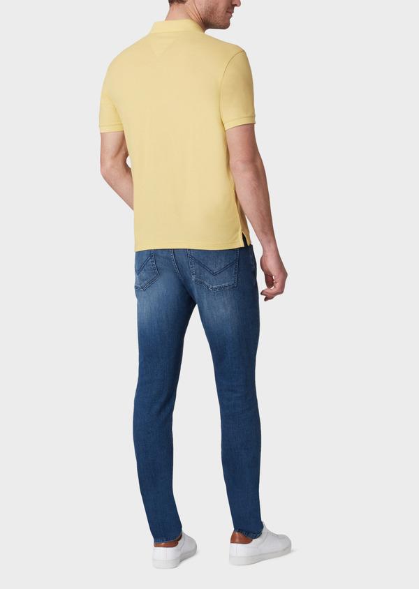 Polo manches courtes Slim en coton uni jaune - Father and Sons 33929