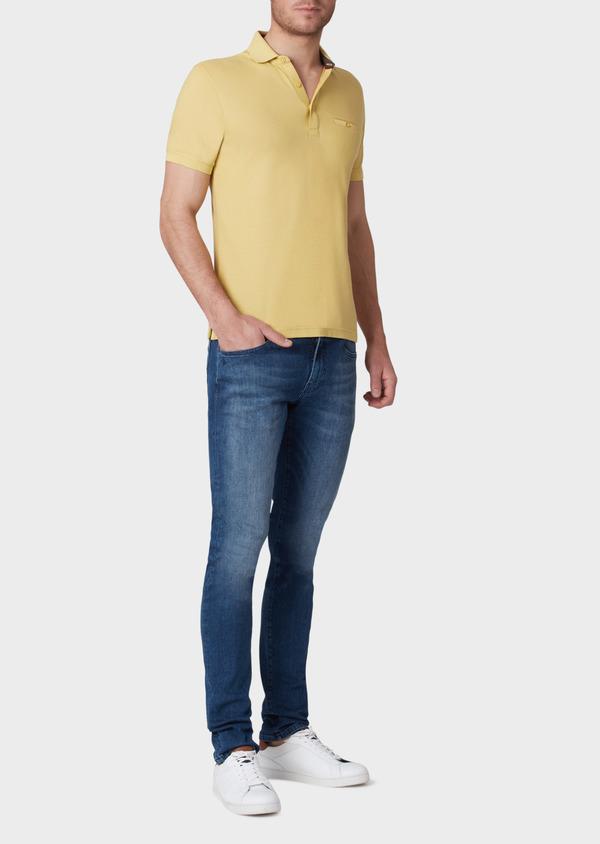 Polo manches courtes Slim en coton uni jaune - Father and Sons 33928