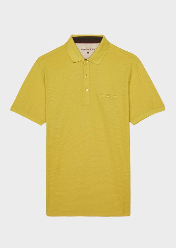 Polo manches courtes Slim en coton uni jaune - Father and Sons 33926