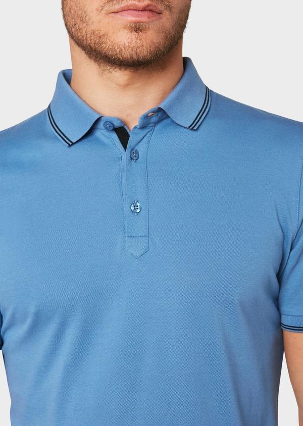 Polo manches courtes Slim en coton uni bleu - Father and Sons 33940