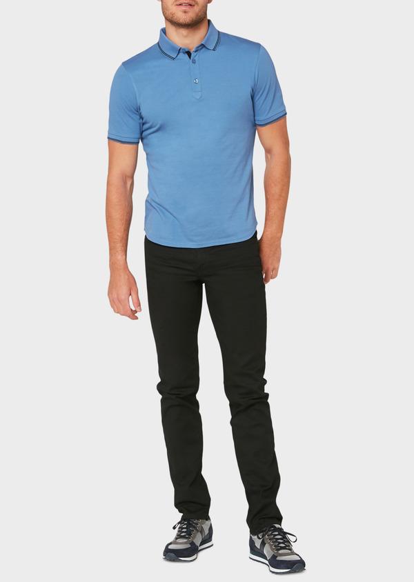 Polo manches courtes Slim en coton uni bleu - Father and Sons 33938