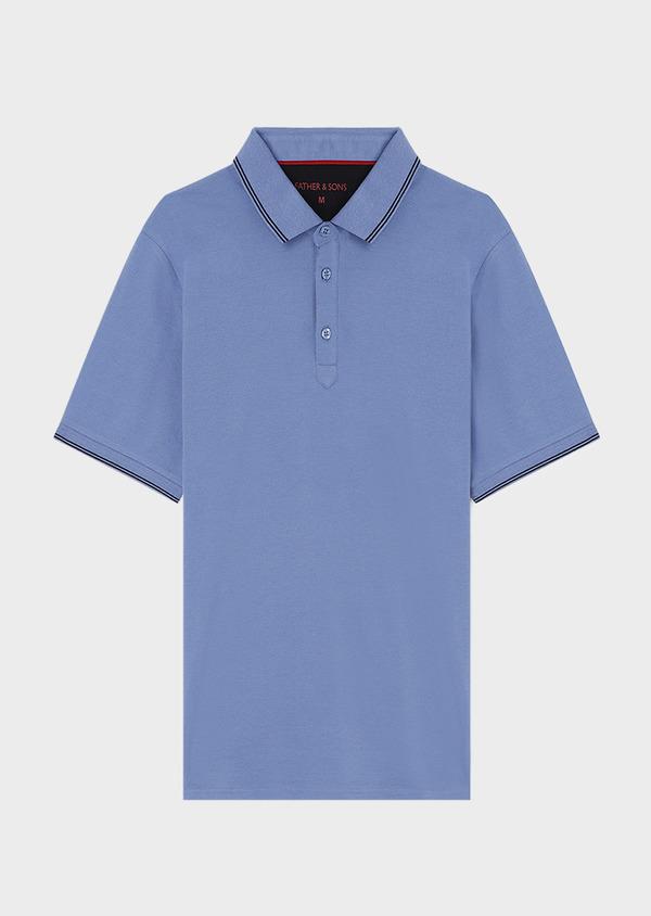 Polo manches courtes Slim en coton uni bleu - Father and Sons 33936
