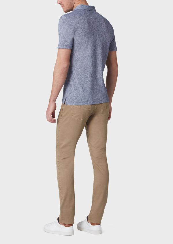 Polo manches courtes Slim en coton uni bleu - Father and Sons 33989