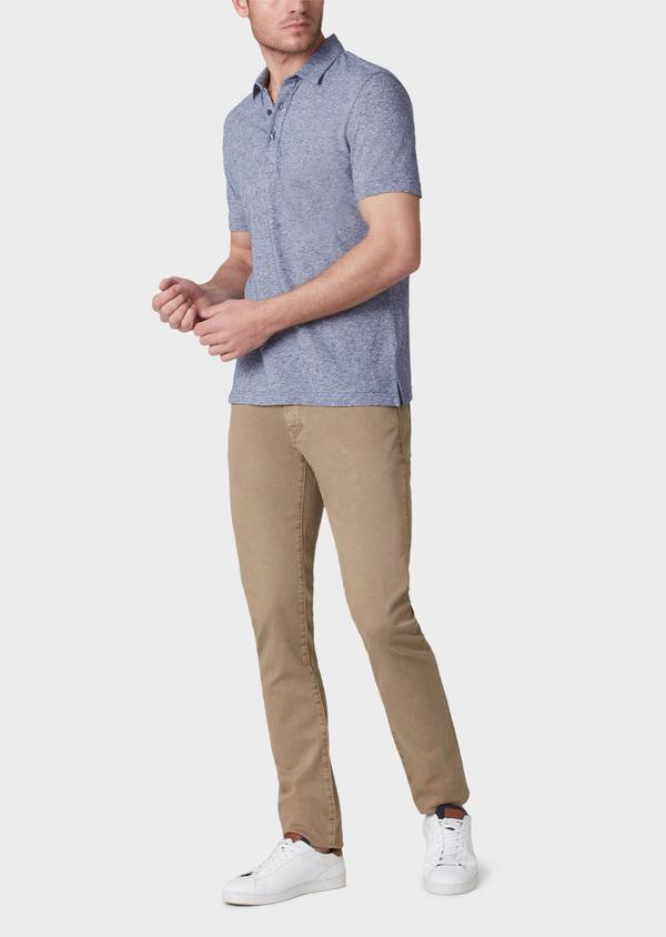 Polo manches courtes Slim en coton uni bleu - Father and Sons 33988