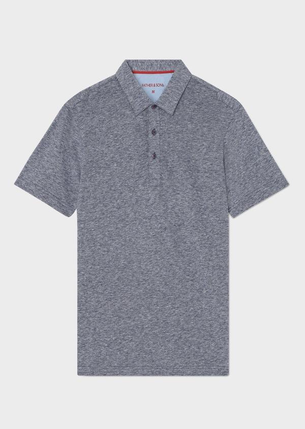 Polo manches courtes Slim en coton uni bleu - Father and Sons 33986