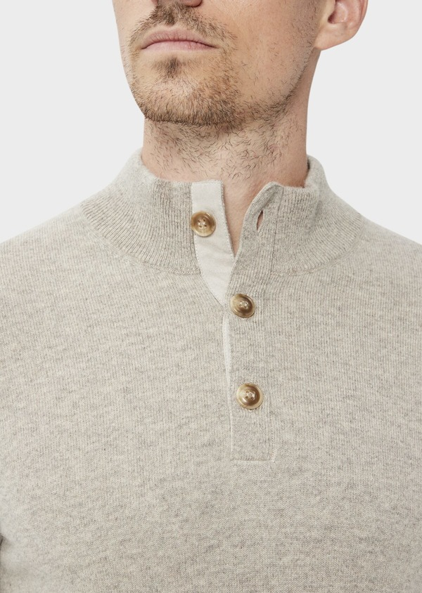 Pull en cachemire col montant boutonné uni beige - Father and Sons 35461