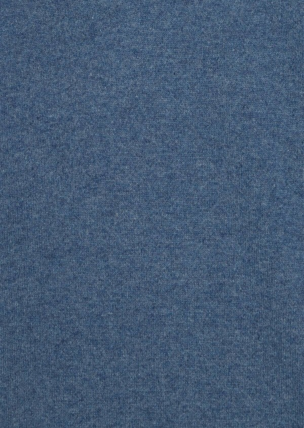 Pull en cachemire col montant boutonné uni bleu chambray - Father and Sons 35463